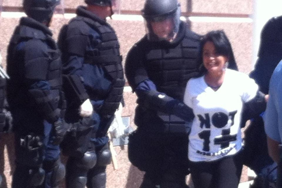 Among those arrested was Gladys Vega of Chelsea Collaborative.