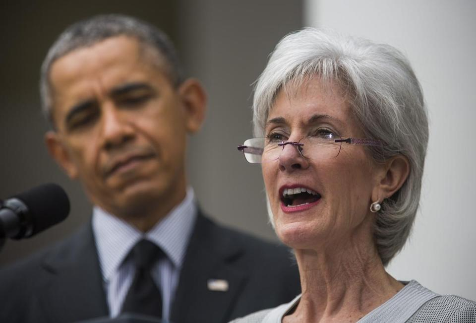 Outgoing US Health and Human Services Secretary Kathleen Sebelius (right) could run for the US Senate.