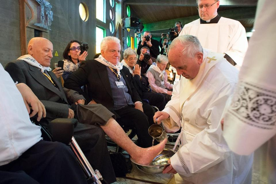 In a Holy Thursday ritual, Pope Francis washed the feet of some people at Rome's Don Gnocchi Foundation Center.