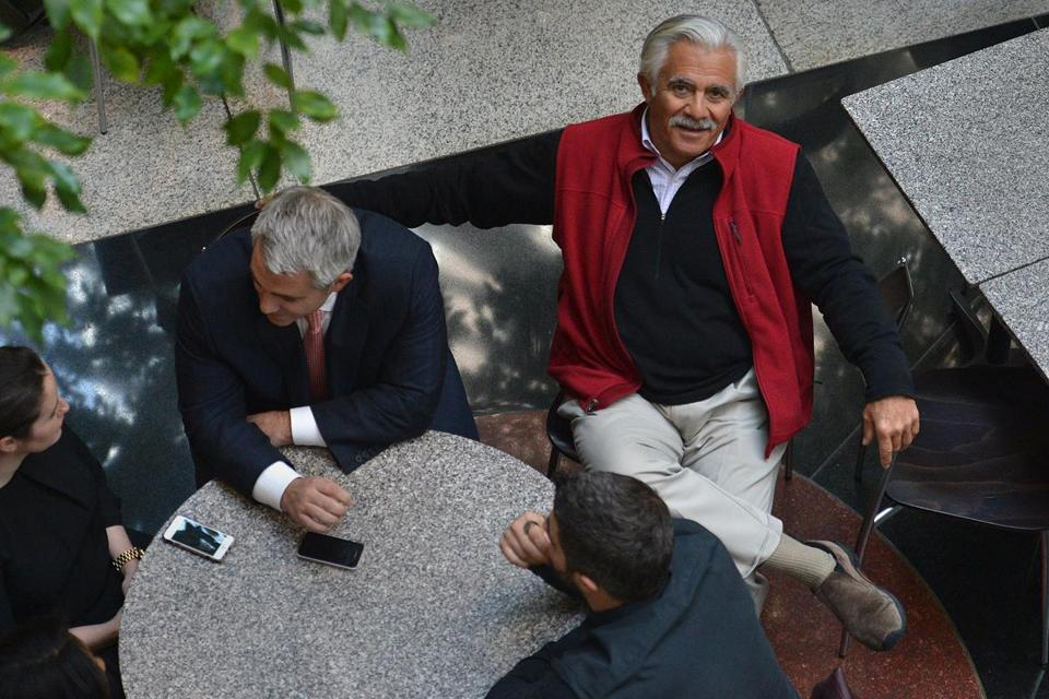 Don Chiofaro sat in the atrium of One International Place, where he can often be found in the mornings.
