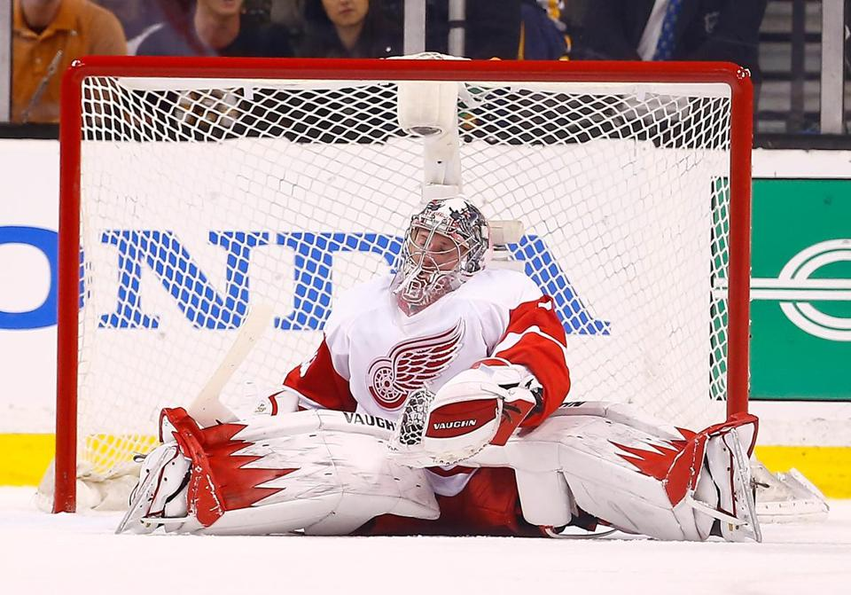 After tossing a shutout in Game 1, Wings goalie Jimmy Howard wasn't as sharp in a Game 2 loss. (Jared Wickerham/Getty Images)