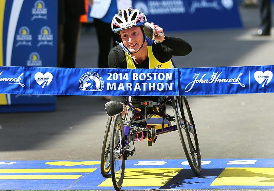 Tatyana McFadden crossed the finish line to win her second straight Boston Marathon.