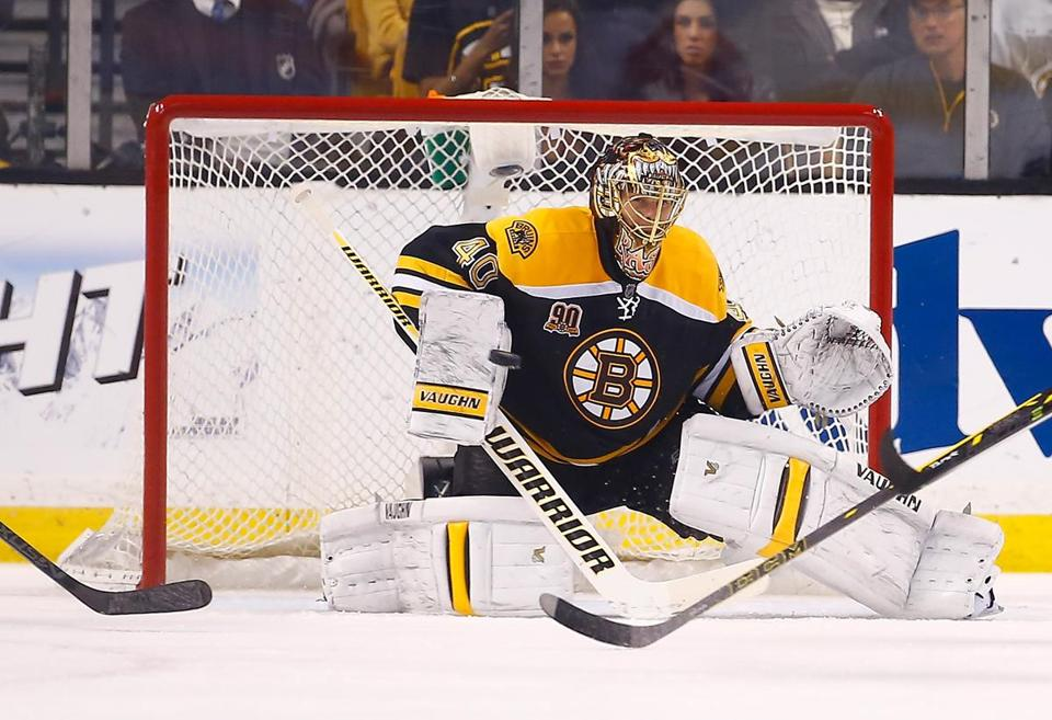 Bruins goalie Tuukka Rask has turned back 57 Detroit attempts over two games and owns a save percentage of .966, tops among goaltenders who had logged 27 or minutes in Round 1. (Photo by Jared Wickerham/Getty Images)