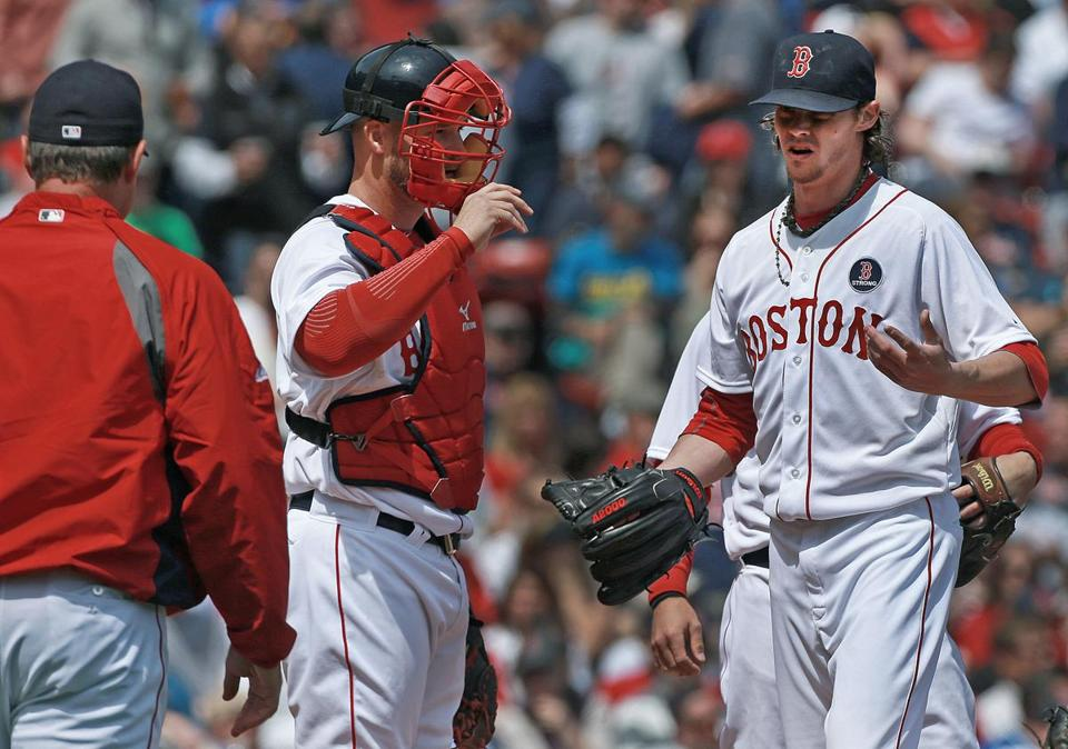 Disappointment was apparent on Clay Buchholz's face as he was removed from the game in the third inning.