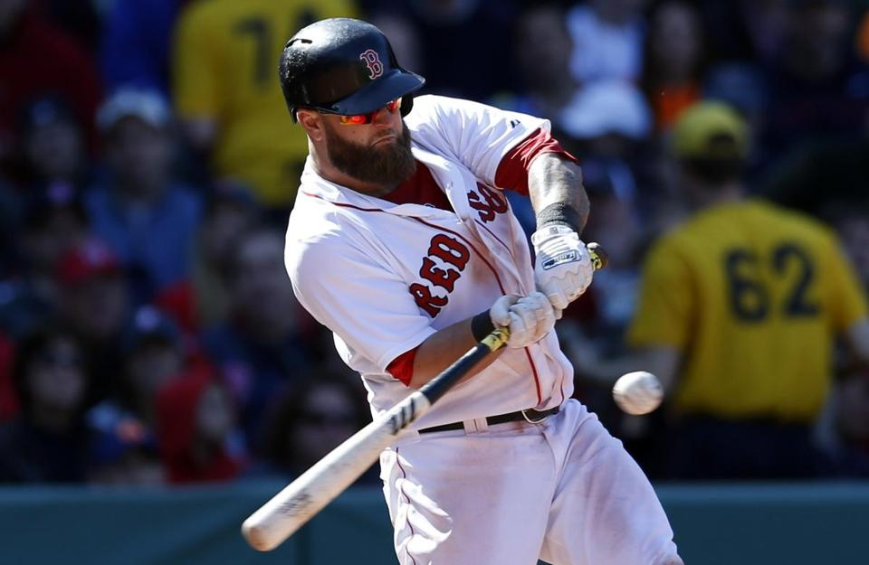 Mike Napoli, here taking a big cut on Saturday, has refined his two-strike approach this season. (AP Photo/Michael Dwyer)