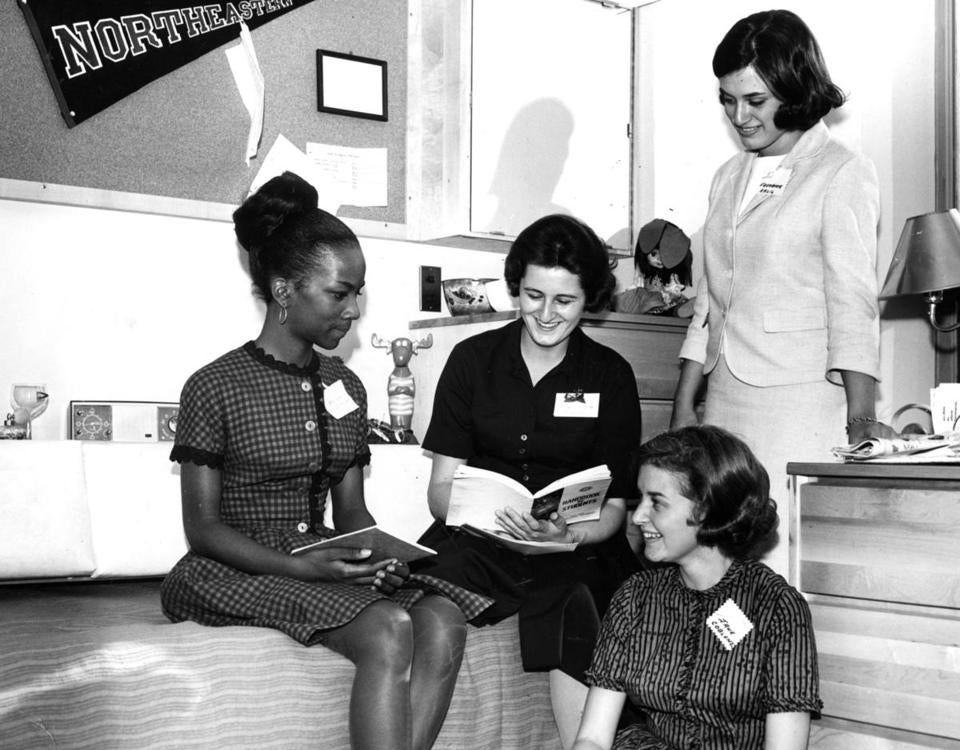 "September 8, 1964: Freshman girls discussed Northeastern University with their ""senior hostess"" in her room at the new Frank Palmer Speare Residence Hall for Women, which opened to 400 coeds."