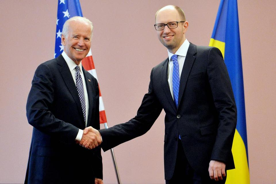 Vice President Joe Biden met with acting Ukrainian Prime Minister Arseniy Yatsenyuk on Tuesday.