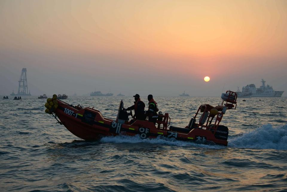 South Korean Coast Guard ships and other craft took part in recovery operations Tuesday at the site of the ferry sinking, near the island of Jindo. About 190 people are still missing.
