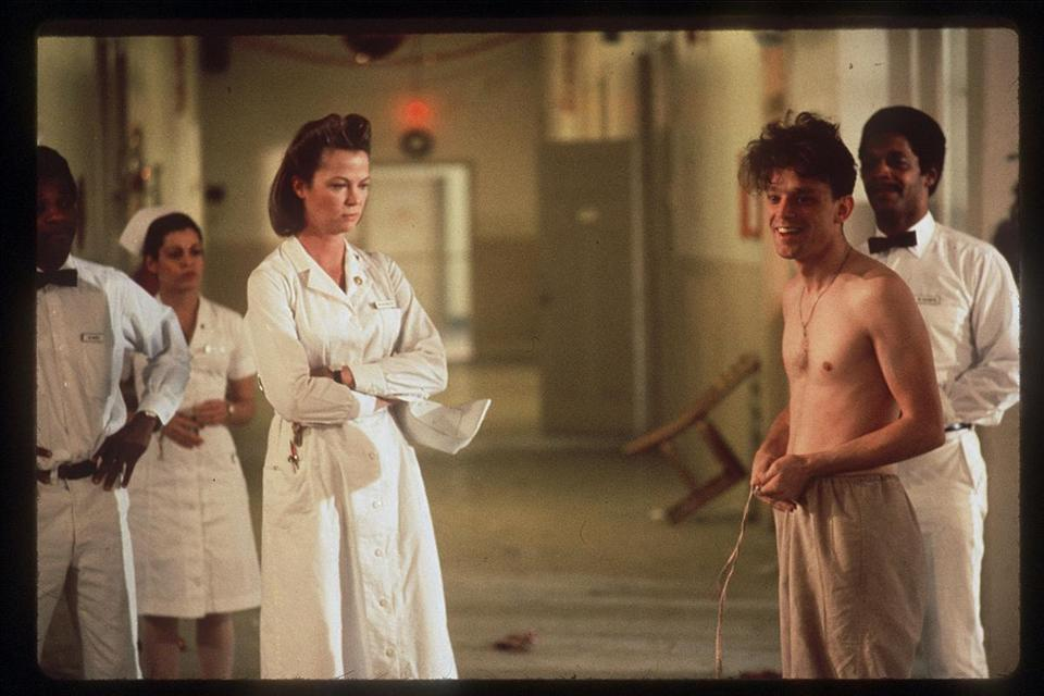 "Louise Fletcher (with Brad Dourif) as Nurse Ratched in ""One Flew Over the Cuckoo's Nest."""