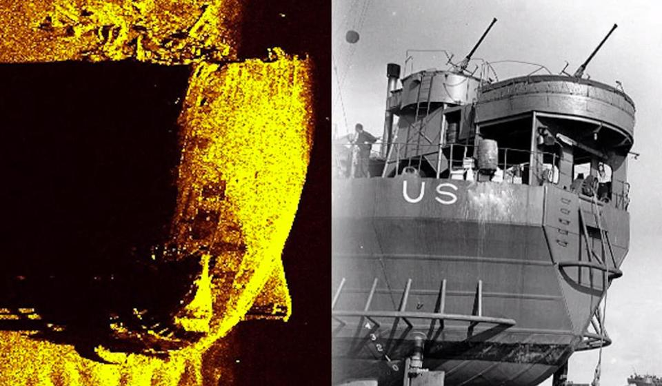 At left, a side scan sonar image of troop carrier LST 531 sunk during Exercise Tiger off the coast of England a few weeks before D-Day. At right, a similar vessel for comparison.