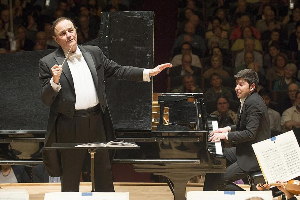 "Charles Dutoit conducted Rachmaninoff's ""Rhapsody on a Theme of Paganini,'' in which Behzod Abduraimov (right) made his BSO debut."