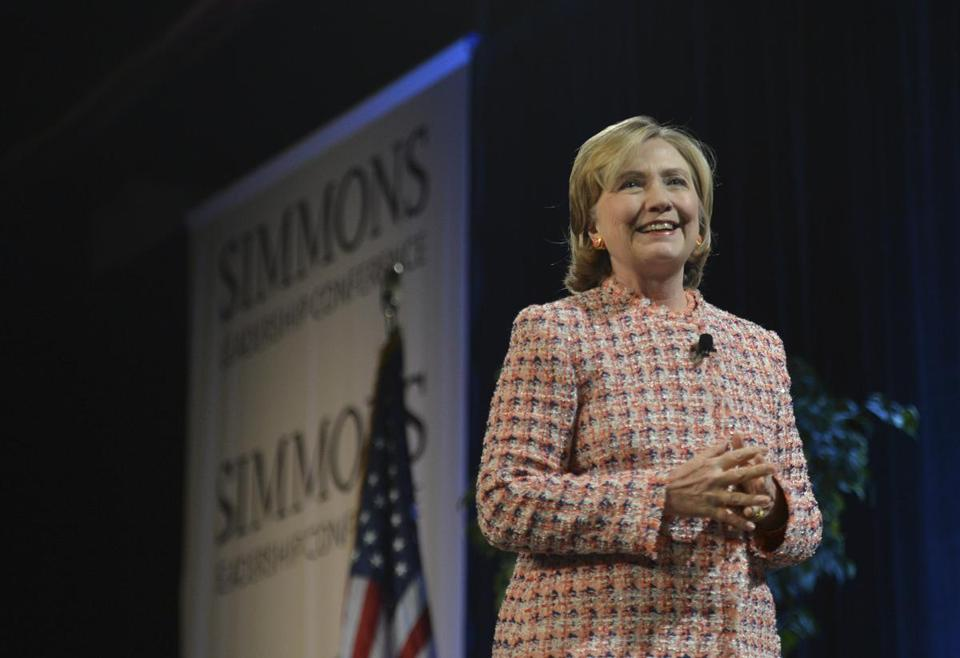 Hillary Clinton spoke at Simmons' Leadership Conference April 23.