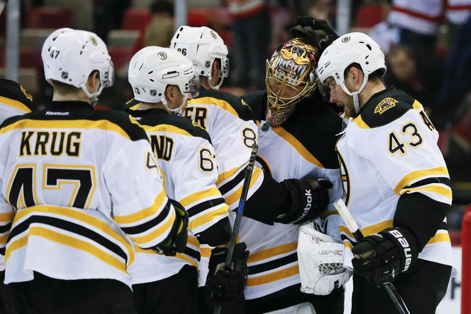 Tuukka Rask accepted kudos after shutting out the Red Wings in Game 3.