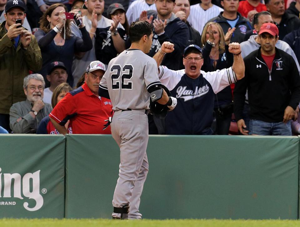 Yankees fans cheered but Red Sox fans booed when Jacoby Ellsbury scored in the first inning.