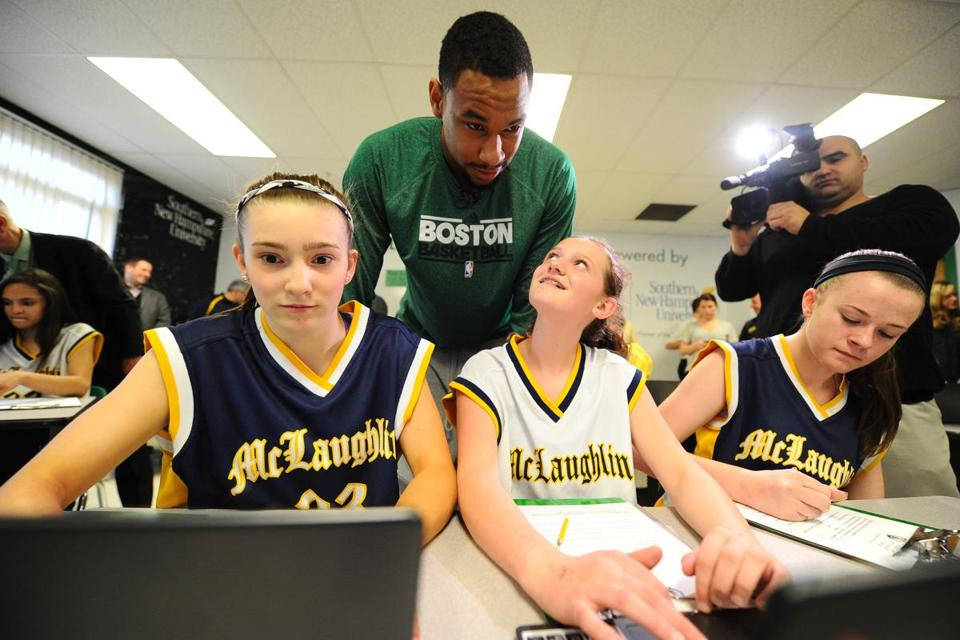 Pictured with Jared Sullinger are (from left) Ashley Godzyk, Makenna Platte, and Paige King.
