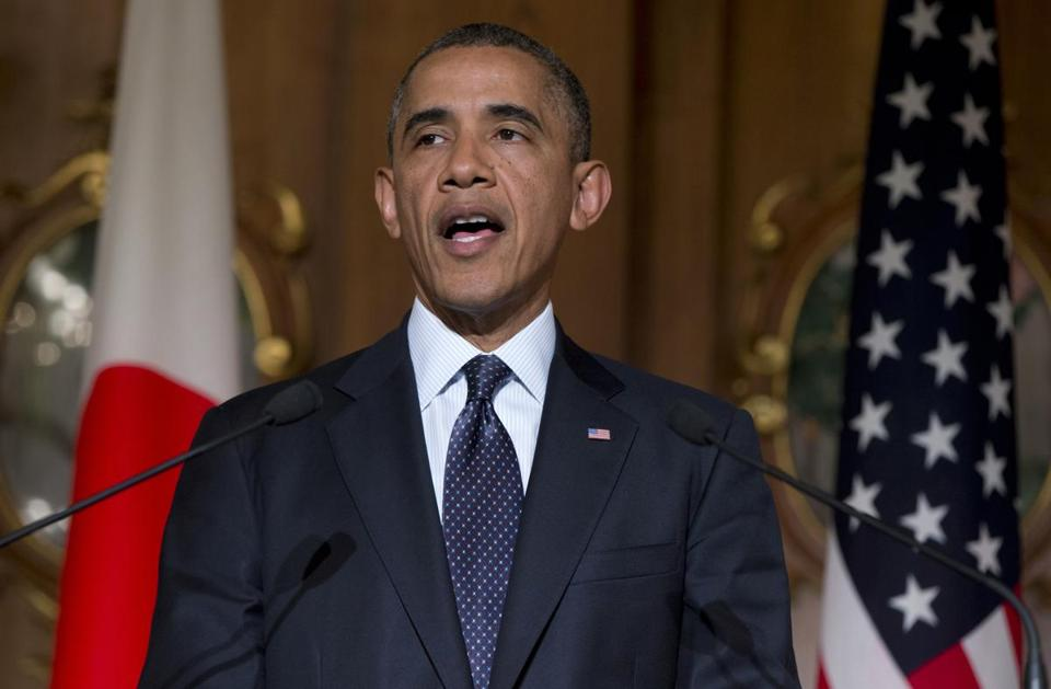 President Obama spoke Thursday during a joint news conference with Japanese Prime Minister Shinzo Abe in Tokyo.