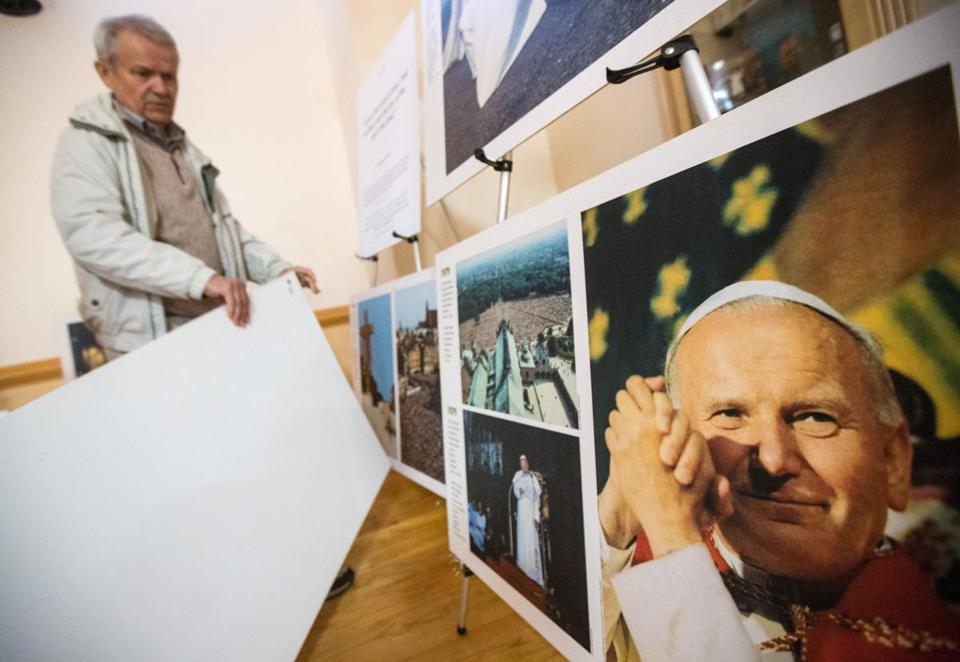 Andrzej Pronczuk of Milton was among the throngs gathered in Warsaw in 1979 when John Paul II made his first papal visit to Poland. An exhibit on the pope that Pronczuk created is on display at Our Lady of Czestochowa's parish hall in South Boston.