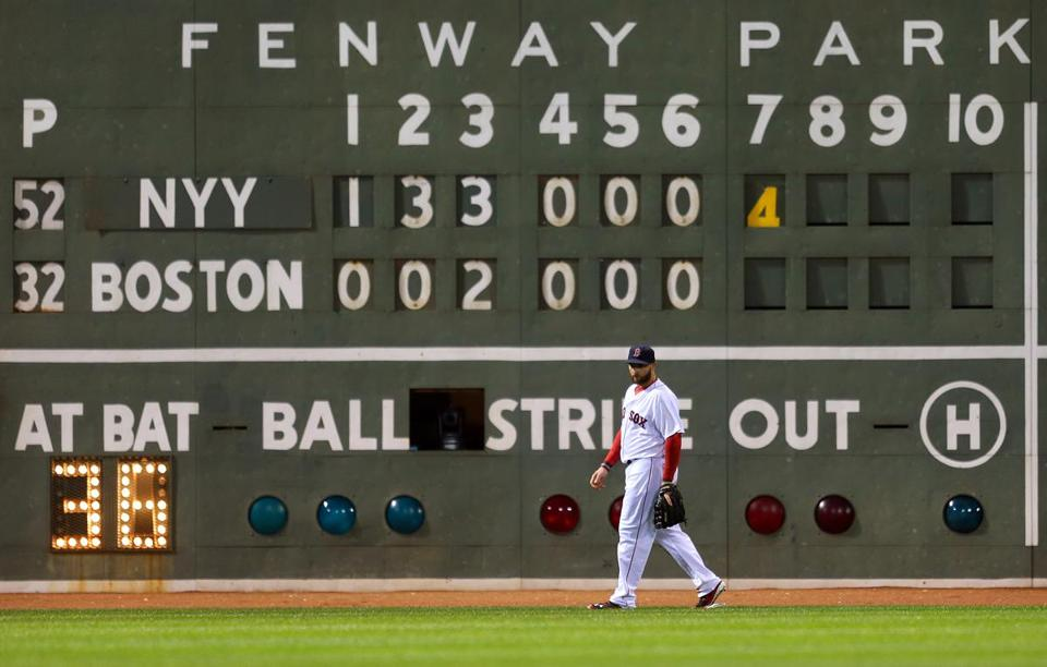 The ugly truth at Fenway is on display behind left fielder Jonny Gomes as the Yankees controlled Thursday's finale.