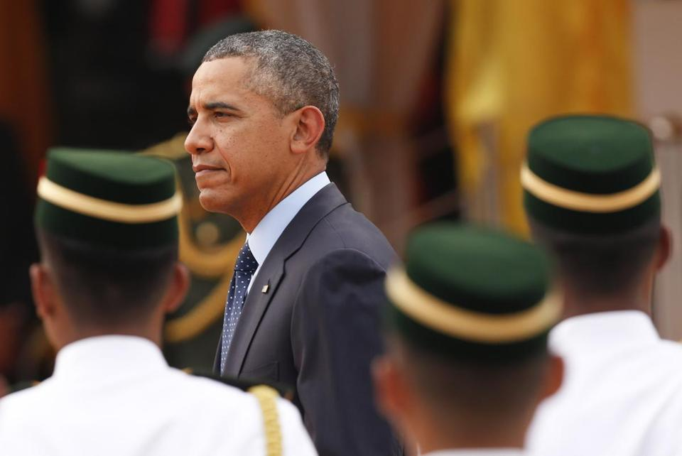 President Obama walked out from a welcoming ceremony at Parliament Square in Kuala Lumpur, Malaysia, on Saturday.
