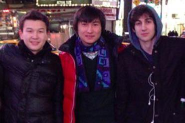 Azamat Tazhayakov (left) and Dias Kadyrbayev (center) posed with Marathon bombing suspect Dzhokhar Tsarnaev in an undated photo taken in New York.
