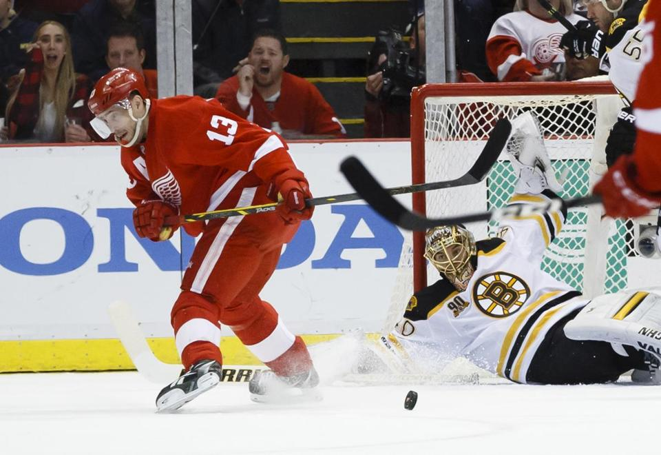 The Bruins' Tuukka Rask, who sprawled to deny the Red Wings' Pavel Datsyuk in Game 4, has allowed just four goals in four games in the series.