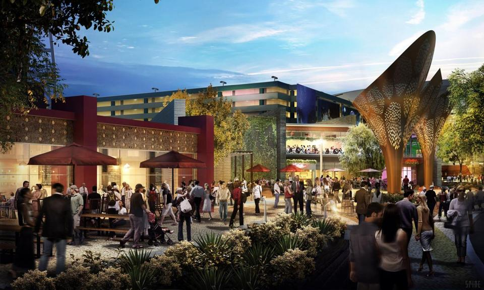 Rendering of MGM's The Park, an eight-acre, tree-lined outdoor entertainment and dining district just off the Las Vegas Strip.