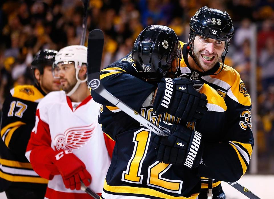BOSTON, MA - APRIL 20: Zdeno Chara #33 of the Boston Bruins celebrates his goal with teammate Jarome Iginla #12 in the third period against the Detroit Red Wings during the game at TD Garden on April 20, 2014 in Boston, Massachusetts. (Photo by Jared Wickerham/Getty Images)