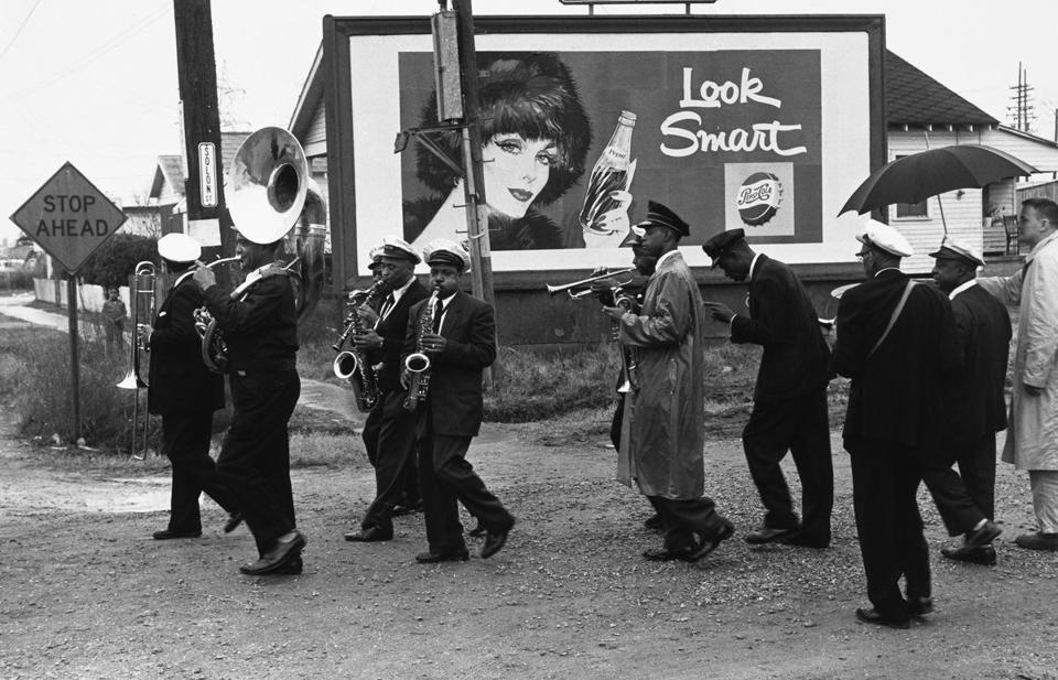 "Lee Friedlander's ""Young Tuxedo Brass Band"" is part of ""Jazz Lives: The Photographs of Lee Friedlander and Milton Hinton"" at Yale University Art Gallery."