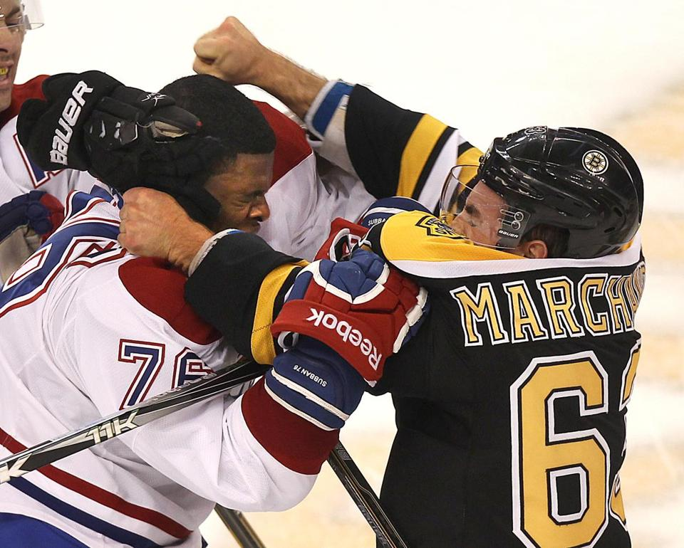 It's a safe bet that Boston's Brad Marchand and Montreal's P.K. Subban will renew acquaintances at TD Garden Thursday night.