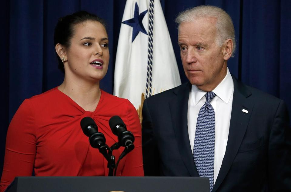 Madeleine Smith, a graduate of Harvard University who had been raped while attending college, spoke in Washington on Tuesday as Vice President Joe Biden listened on.