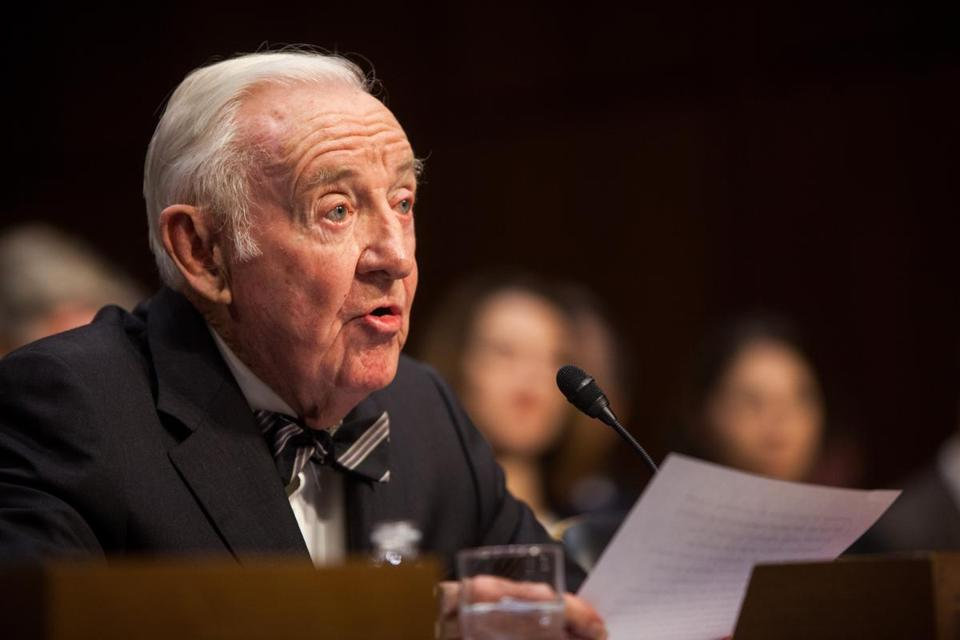 John Paul Stevens argued for amending the Constitution to allow campaign finance limits at the Senate Wednesday.