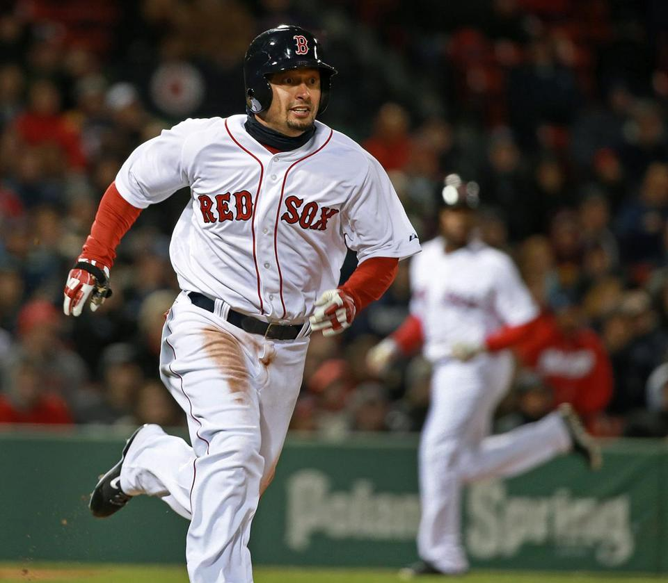 Shane Victorino motors on his RBI double in the sixth inning.