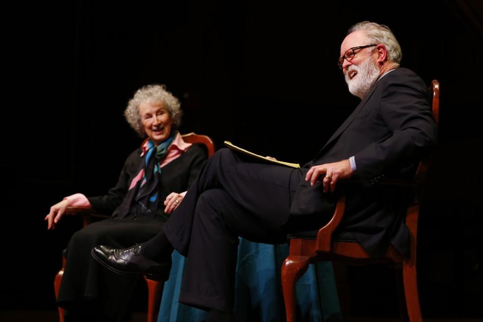 Margaret Atwood with John Lithgow at Harvard University on Thursday.