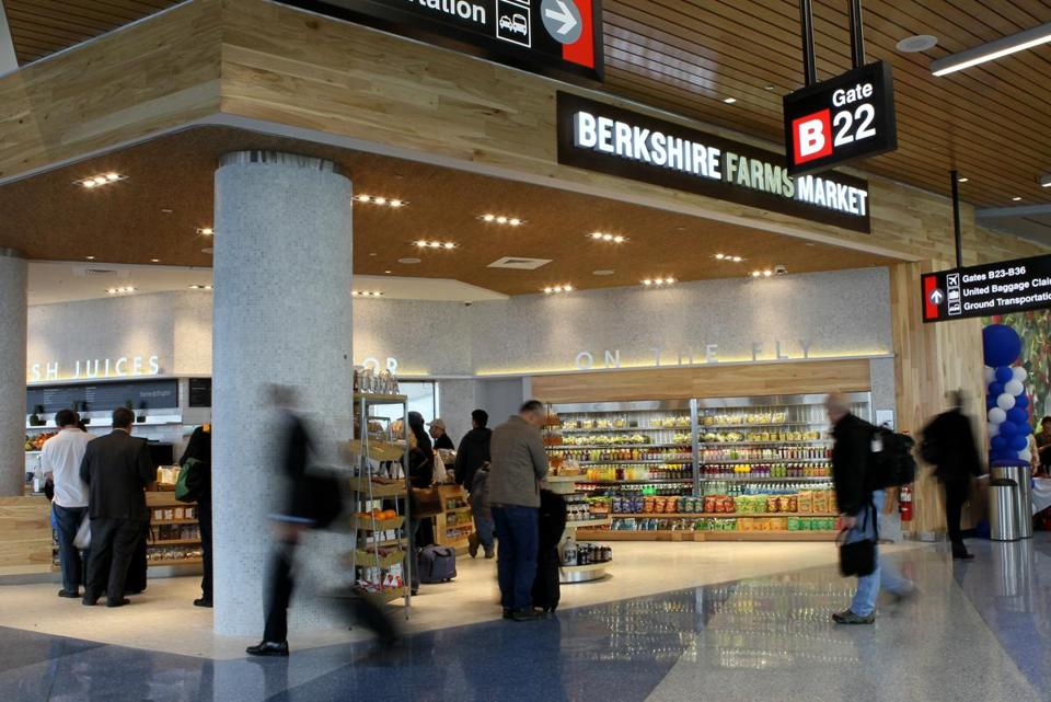 Berkshire Farms Market, which opened at Logan in April, is one of several food vendors at the airport that offer travelers healthier fare than typical fast-food eateries.