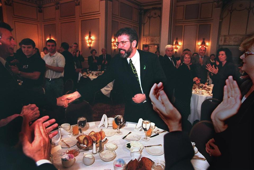 Gerry Adams received a standing ovation at an appearance in Boston in 1998.