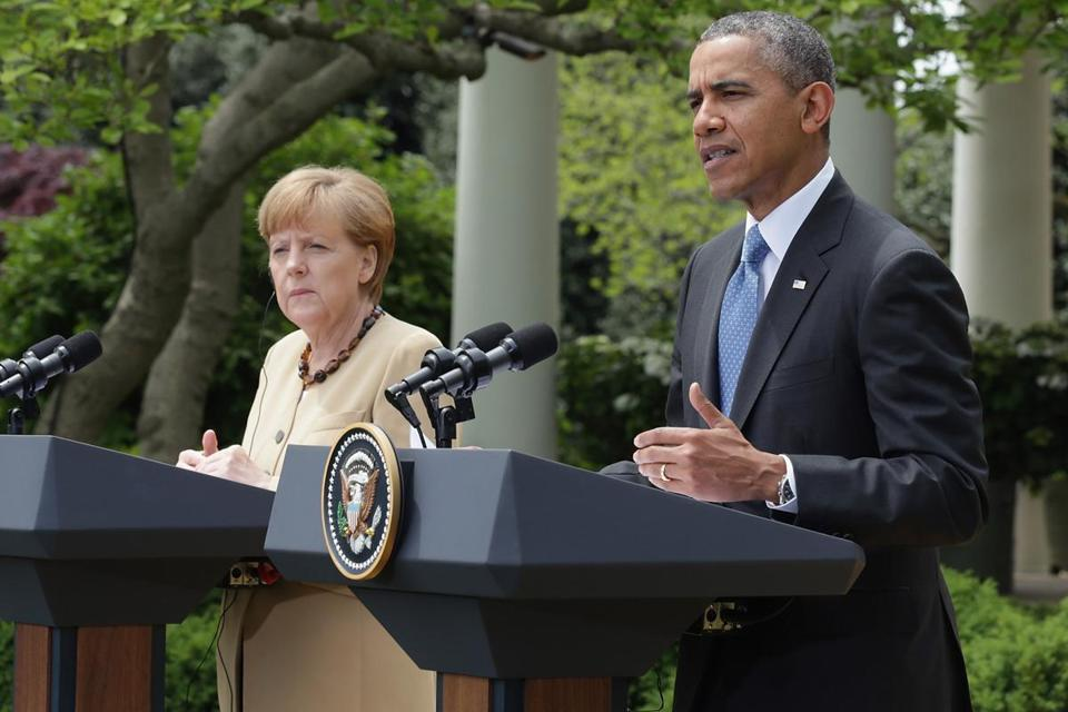 President Obama spoke at a news conference Friday with German Chancellor Angela Merkel.