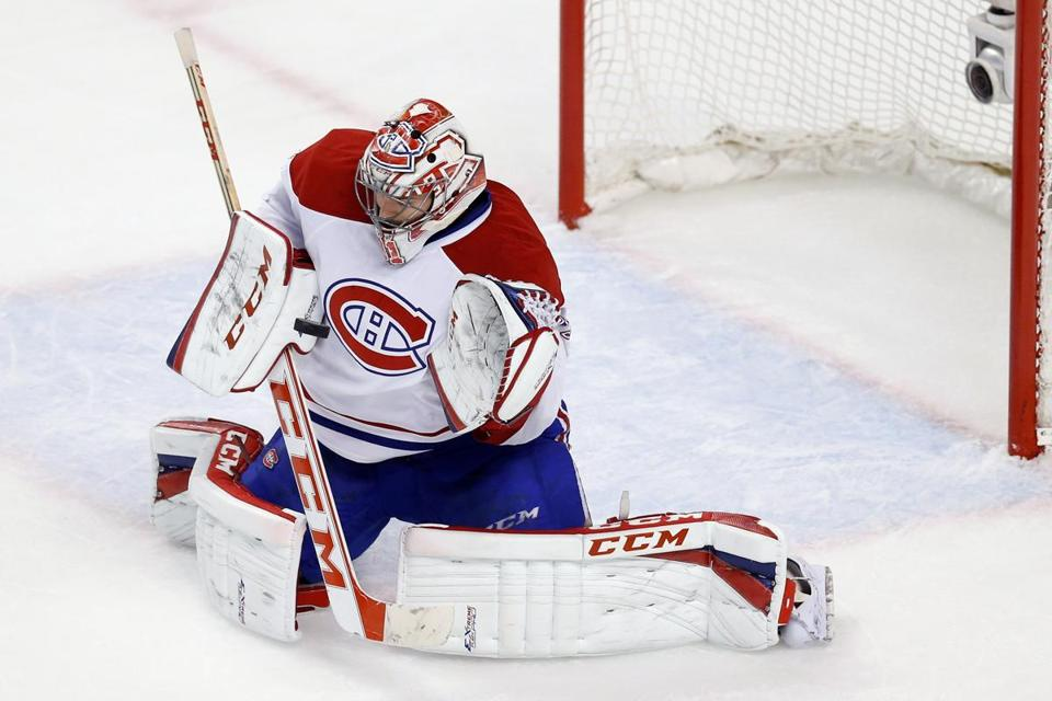 Carey Price was a security blanket for the Canadiens, making 48 saves in their Game 1 victory. (Greg M. Cooper/USA Today Sports)