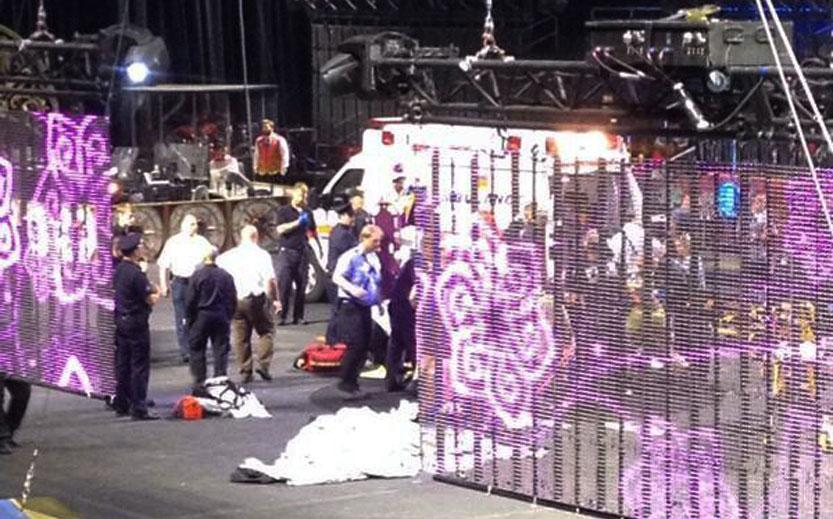 Emergency workers tended to injured performers after a platform collapsed during a circus performance in Providence.