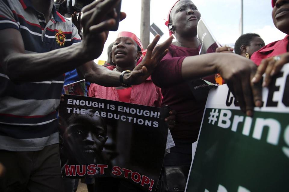 Protesters in Lagos, Nigeria, Monday demanded the release of hundreds of abducted girls from the village of Chibok.