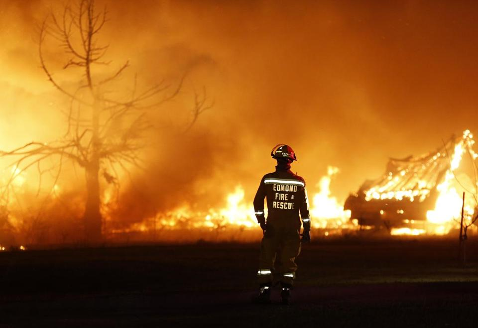A fire raged out of control at a mobile home park in Logan County, Oklahoma.