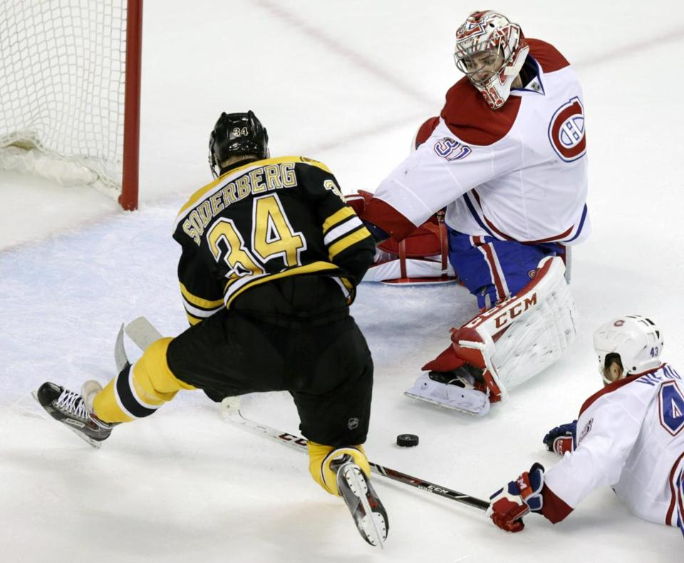 Carl Soderberg always considered center his natural position. AP Photo/Charles Krupa