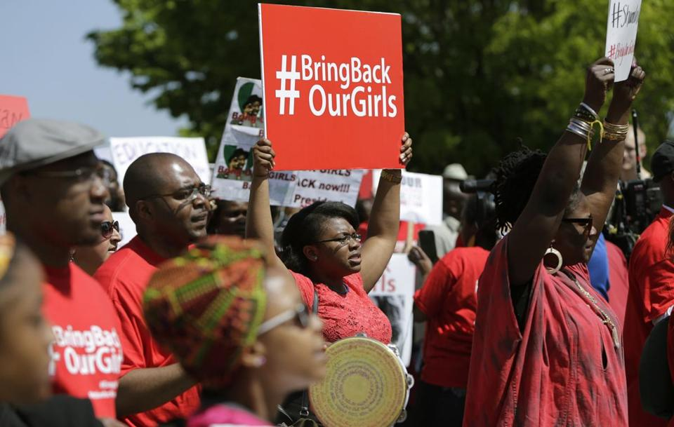 Protesters marched in support of the girls kidnapped by members of Boko Haram in front of the Nigerian Embassy in Washington.