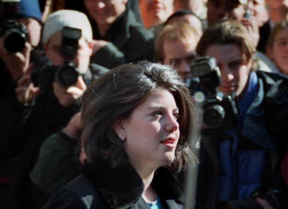 Former White House intern Monica Lewinsky departs a downtown Washington hotel Tuesday Jan. 26, 1999. In an article in Vanity Fair this week, Lewinsky says she is attempting to put her affair with President Clinton behind her.