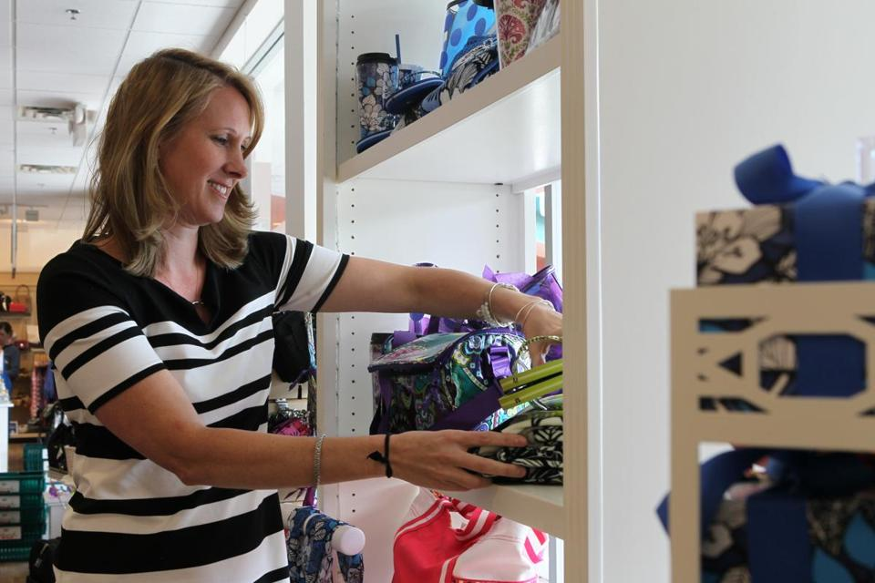 Meg Lavoie, a buyer for The Paper Store, frequently visits the chain's 42 locations to check on products.