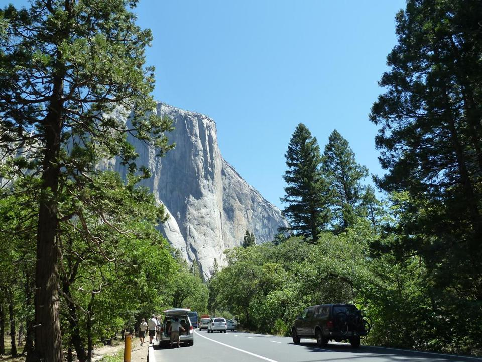 Tourists' cars lined the road in Yosemite National Park.