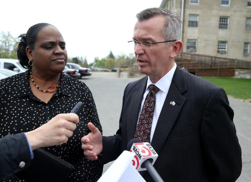 Public Safety Secretary Andrea J. Cabral and Health and Human Services Secretary John W. Polanowicz spoke with reporters at Bridgewater State Hospital Thursday.