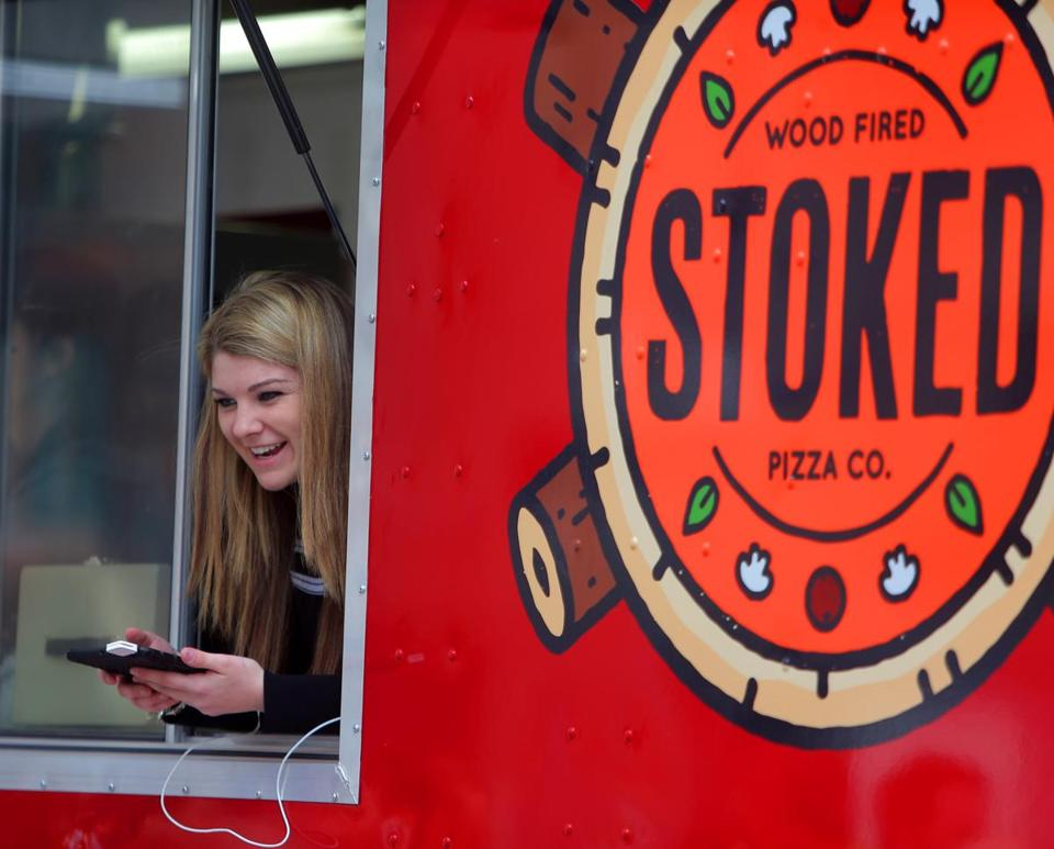 The Stoked Wood Fired  Pizza Co. truck snagged a lunchtime serving on Clarendon Street in the Back Bay.