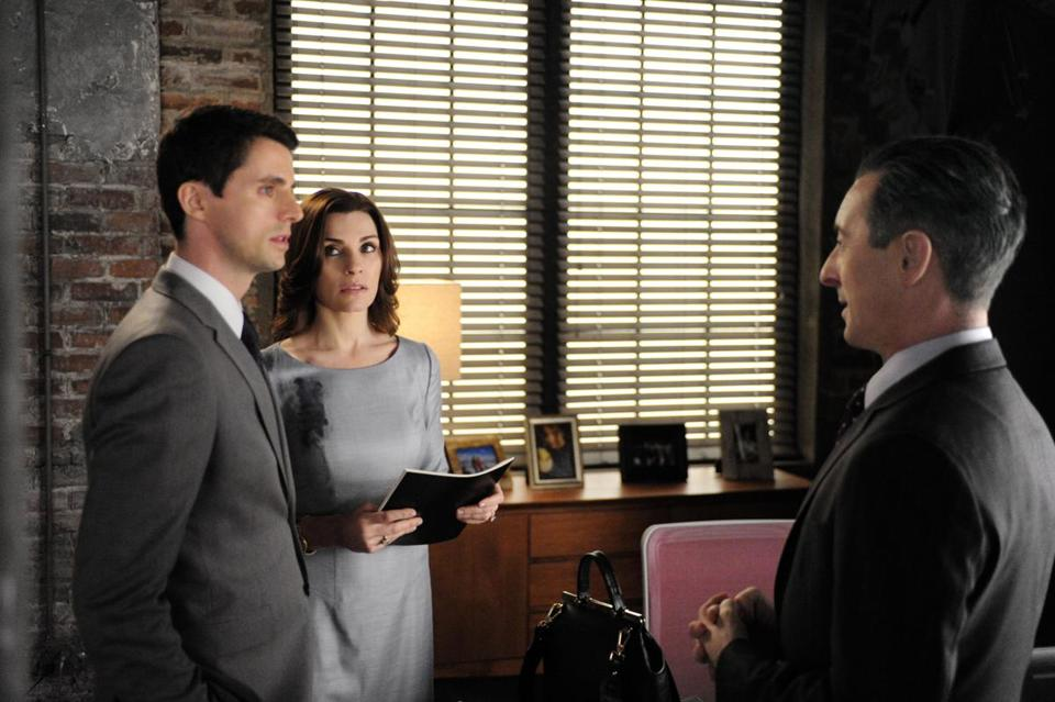 "From left: Matthew Goode, Julianna Margulies, and Alan Cumming in ""The Good Wife."""