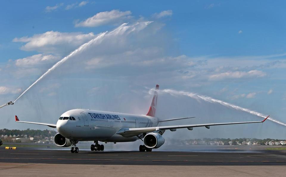The first Turkish Airlines nonstop flight from Istanbul to Boston received a water salute after it touched down at Logan Airport Monday afternoon.