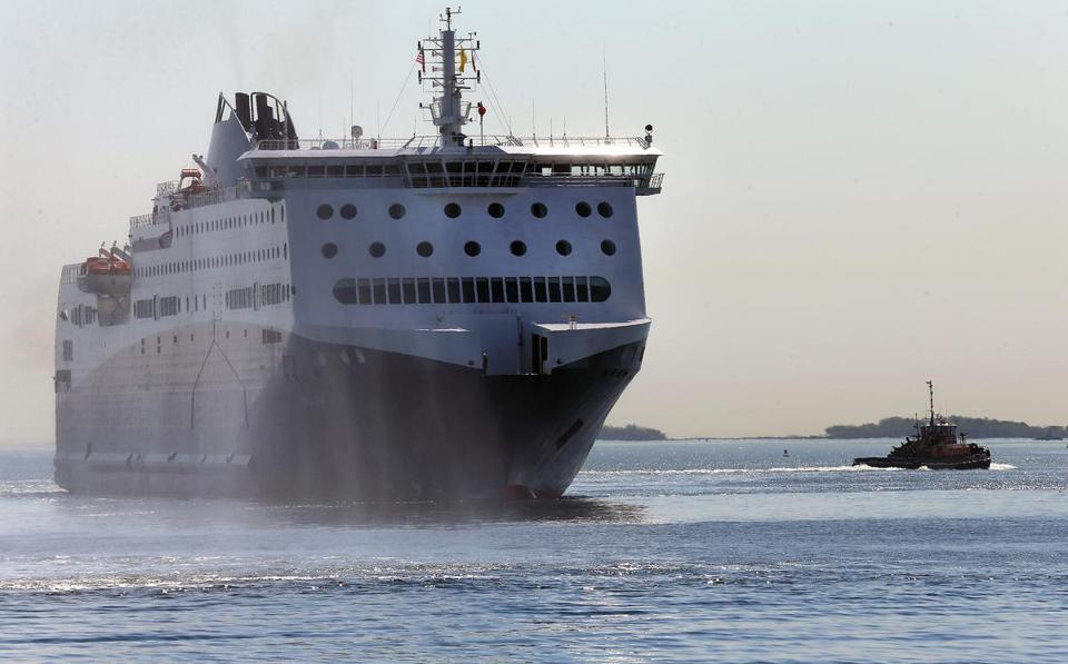 The Nova Star ferry arrives at Black Falcon Pier in Boston for a christening ceremony Monday.